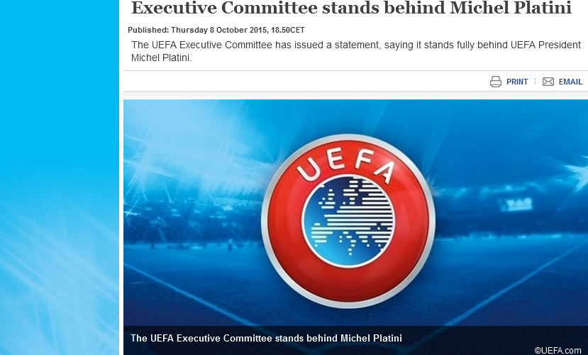 Executive Committee stands behind Michel Platini