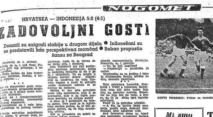 60 godina od prijateljske utakmice Hrvatske i Indonezije