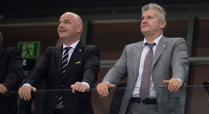 Infantino congratulates Šuker and the Vatreni
